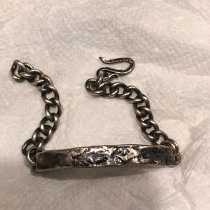 Unique hammered silver ID tag style bracelet